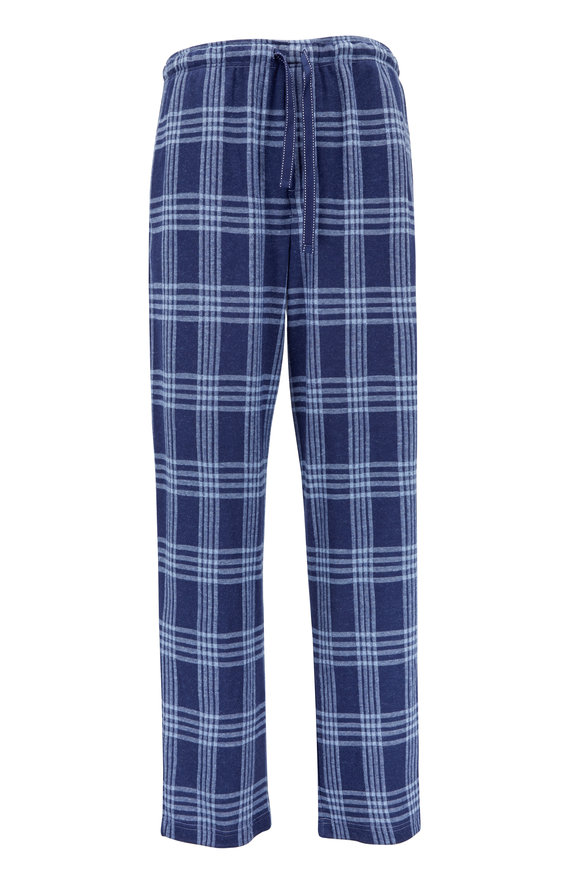 Majestic Navy Blue Plaid Flannel Pant