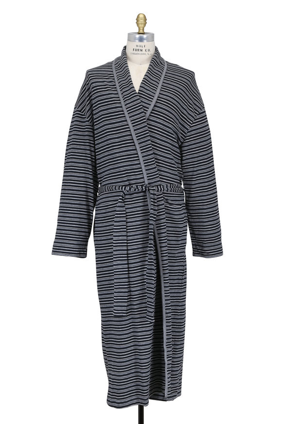 Majestic Gray & Black Striped Cotton Robe