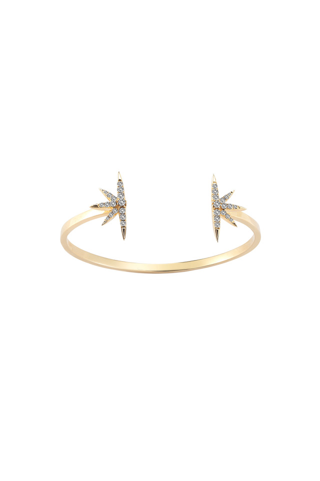 Northern Star Gold Plate White Topaz Open Bangle