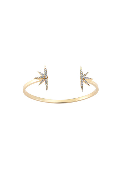 Elizabeth & James - Northern Star Gold Plate White Topaz Open Bangle
