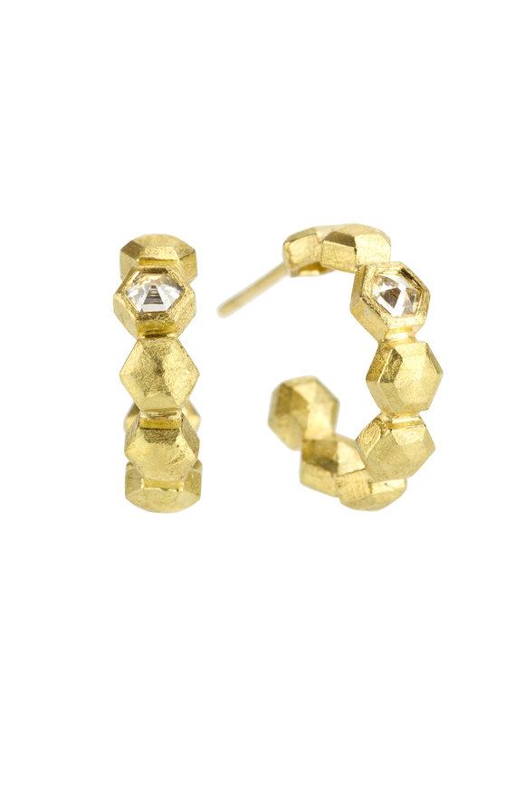 Todd Reed 18K Yellow Gold Diamond Hoops