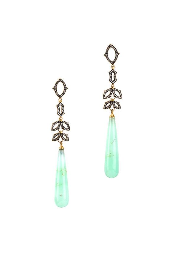 Sylva & Cie 18K Yellow Gold Chrysoprase & Diamond Earrings