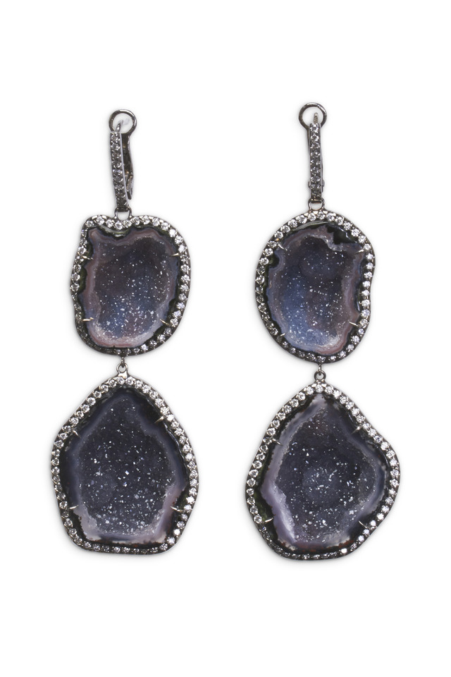 White Gold Double Geode Diamond Drop Earrings