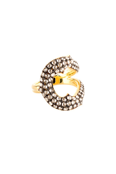 Sylva & Cie - 18K Yellow Gold Gray Diamond Horseshoe Ring
