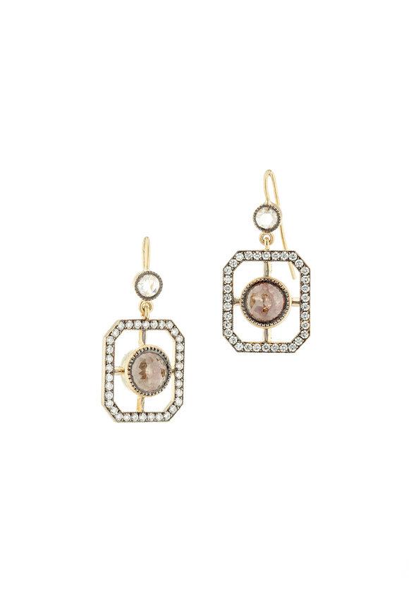 Sylva & Cie 18K Yellow Gold Rough Diamond Window Earrings