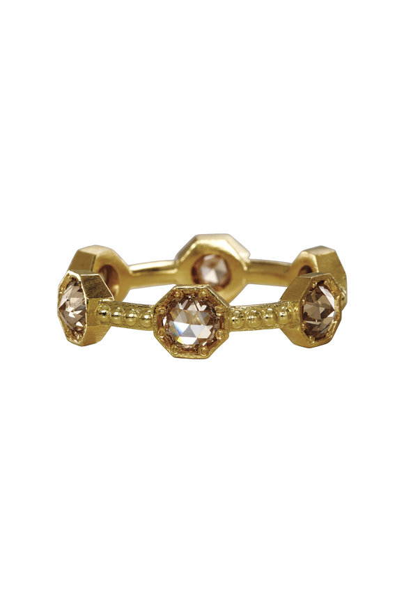 Sylva & Cie 18K Yellow Gold Brown Diamond Cavair Ring