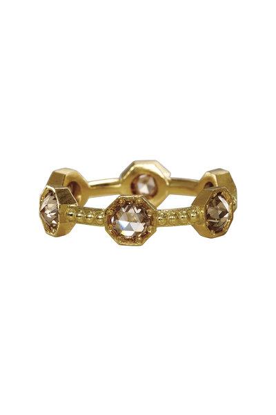 Sylva & Cie - 18K Yellow Gold Brown Diamond Cavair Ring