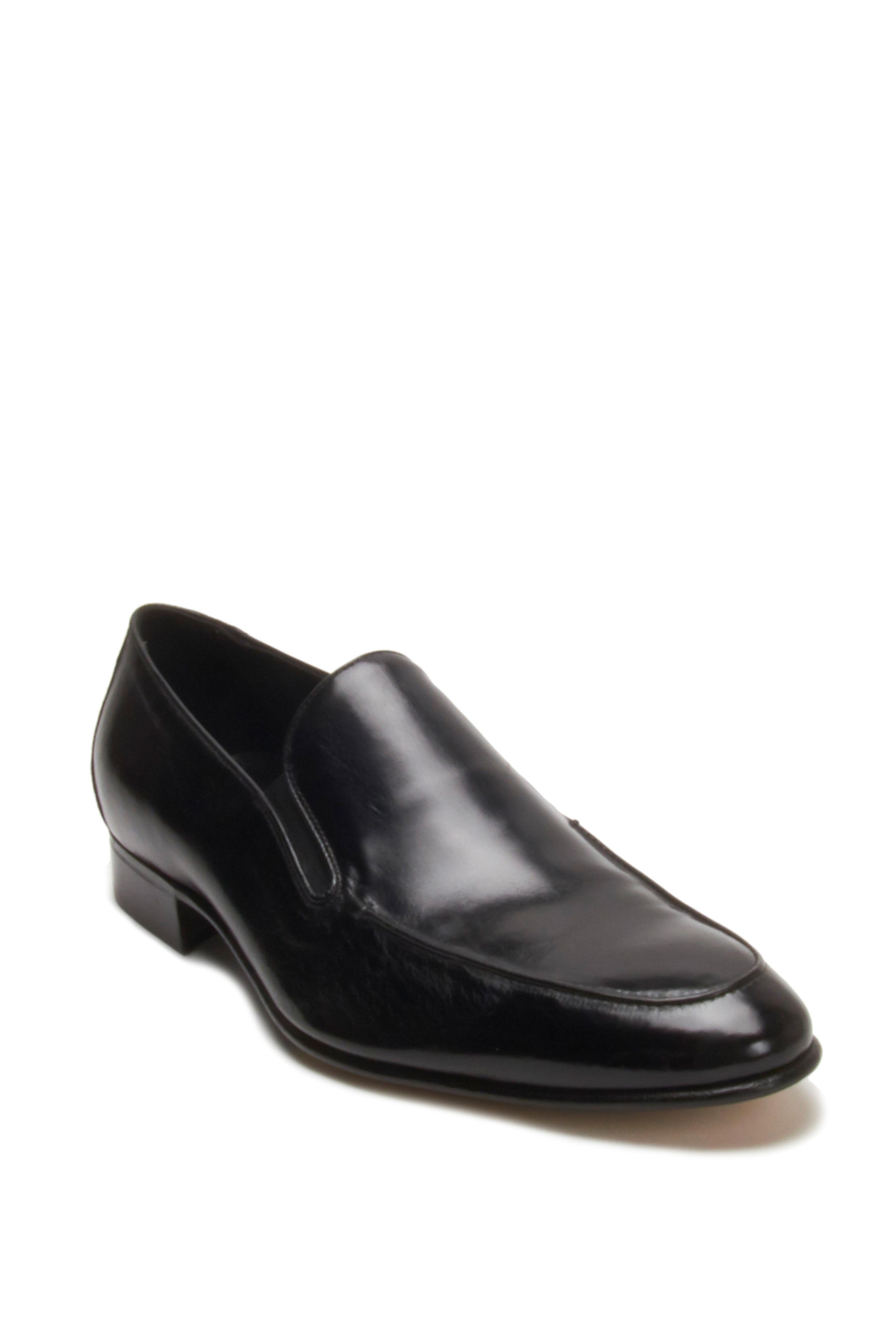 Gravati Black Leather Slip On Loafer | Mitchell Stores