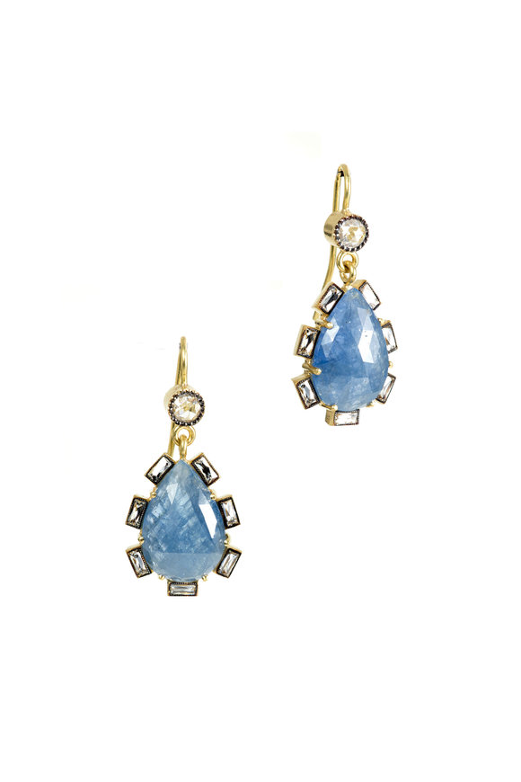 Sylva & Cie 18K Yellow Gold Sapphire & Diamond Drop Earrings