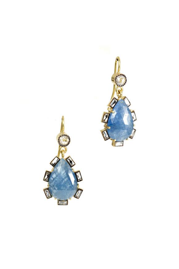 Sylva & Cie 18K Yellow Gold Sapphire & Diamond Drop Earrings