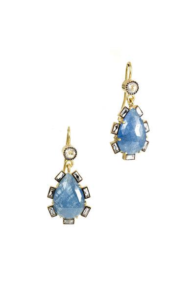 Sylva & Cie - 18K Yellow Gold Sapphire & Diamond Drop Earrings