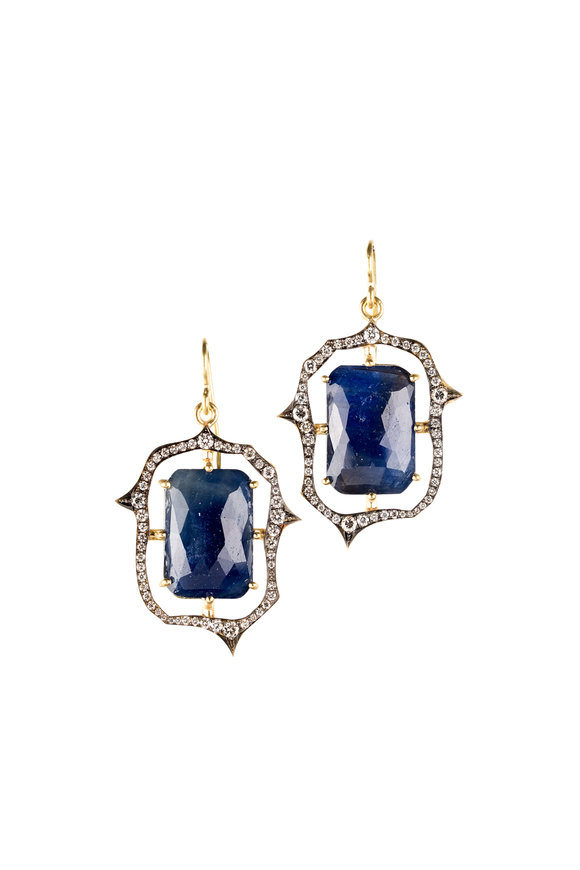 Sylva & Cie 18K Yellow Gold Sapphire & Diamond Earrings
