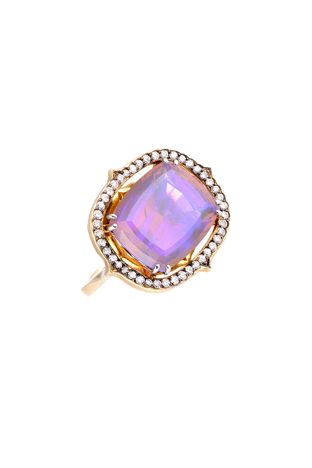 18K Yellow Gold & Platinum Opal & Diamond Ring