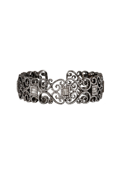Bochic - White Gold Carved Diamond Bracelet