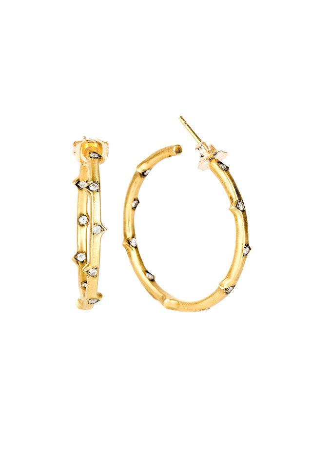 18K Yellow Gold Diamond Thorn Hoops