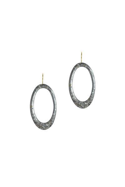 Todd Reed - 18K Gold & Silver Diamond Open Oval Earrings