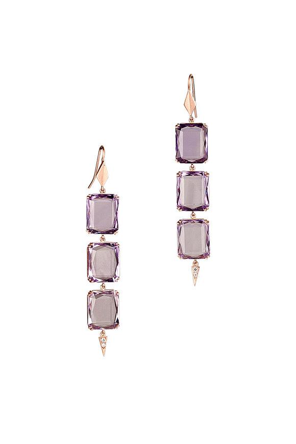 Sylva & Cie 14K Rose Gold Amethyst & Diamond Drop Earrings
