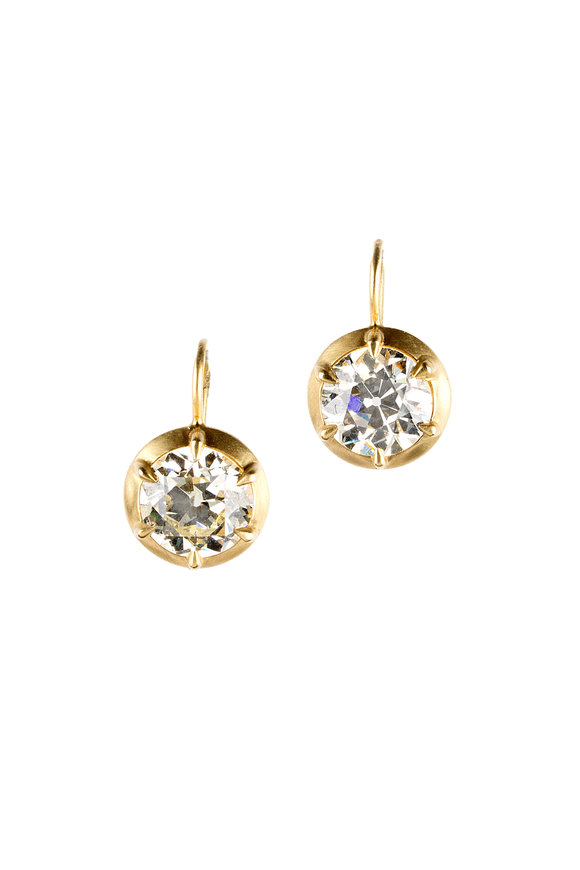 Sylva & Cie 18K Yellow Gold Diamond Drop Earrings