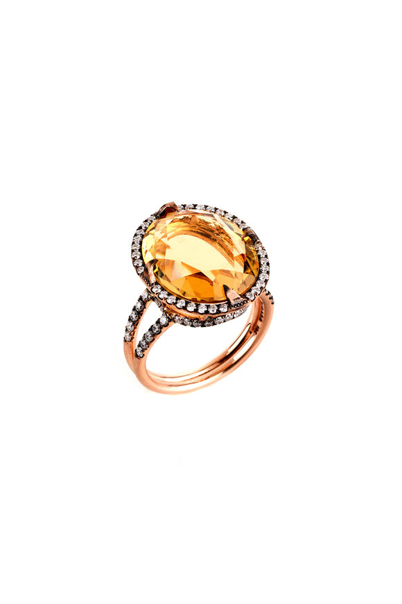 Sylva & Cie 14K Yellow Gold Citrine & Diamond Ring
