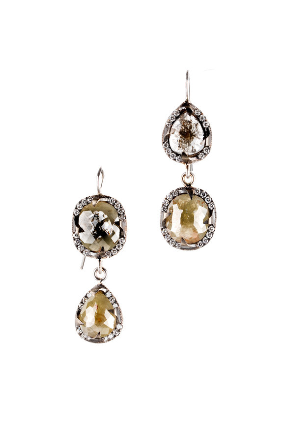 Sylva & Cie 18K White Gold Rough Diamond Drop Earrings