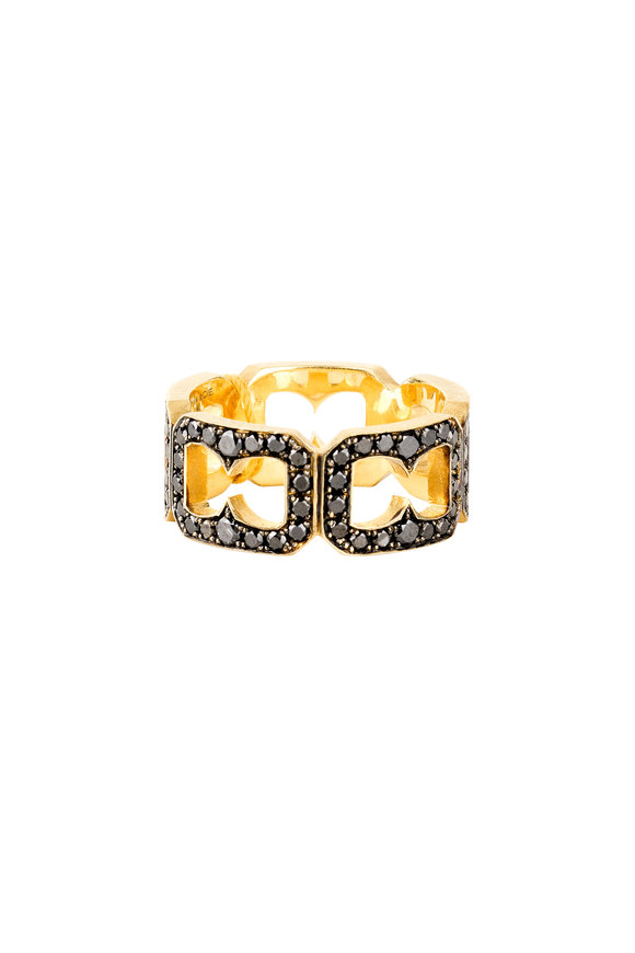 Sylva & Cie 18K Yellow Gold Black Diamond Buckle Band