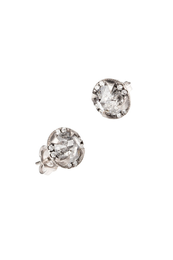 Sylva & Cie Platinum Gray Diamond Thorn Studs