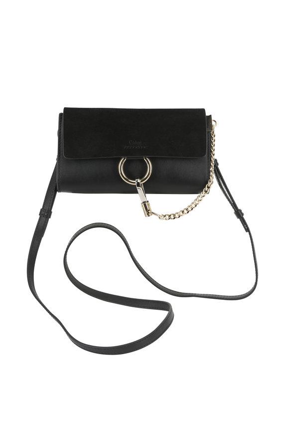 Chloé Faye Black Leather & Suede Mini Clutch Crossbody