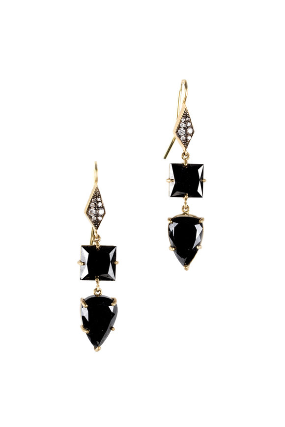 Sylva & Cie 18K Yellow Gold Black Diamond Drop Earrings