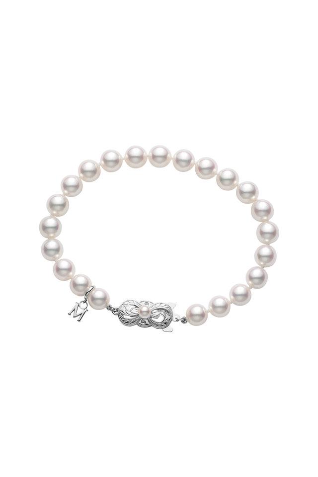 White Gold Double Pearl Strand Bracelet