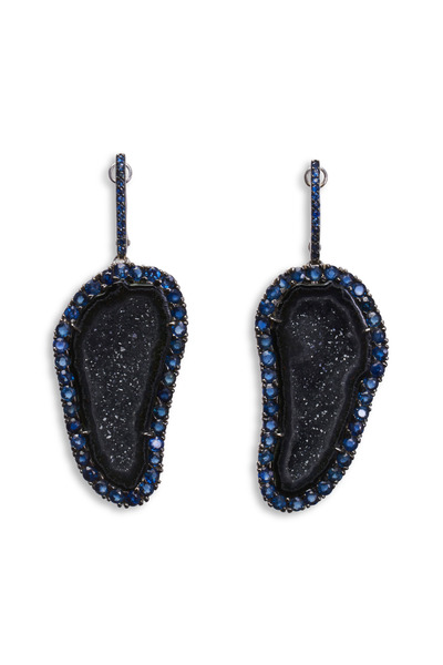 Kimberly McDonald - White Gold Black Rhodium & Geode Sapphire Earrings