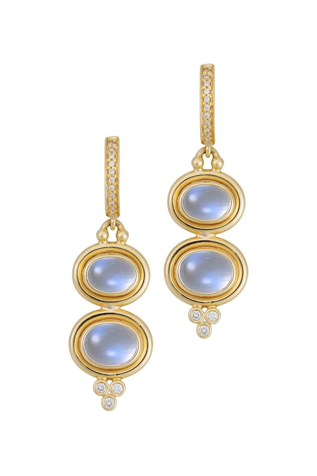 Yellow Gold Blue Moonstone Diamond Drop Earrings