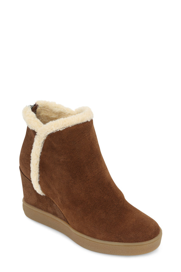 Aquatalia Chestnut Suede Shearling Lined Bootie, 80mm