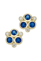 Temple St. Clair - 18K Yellow Gold Triple Sapphire & Diamond Studs