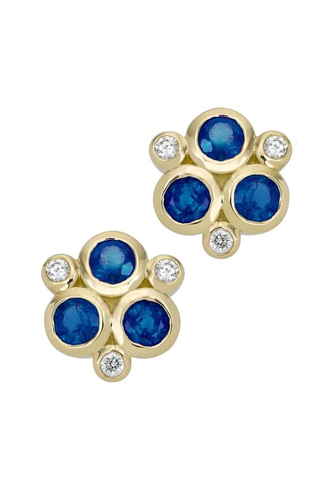 18K Yellow Gold Triple Sapphire & Diamond Studs
