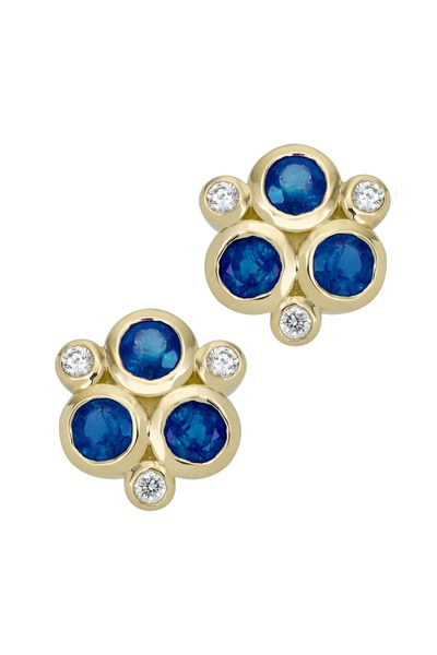 Temple St. Clair - 18K Yellow Gold Triple Sapphire & Diamond Studs