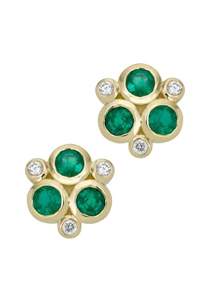 Temple St. Clair - 18K Yellow Gold Emerald & Diamond Trio Studs