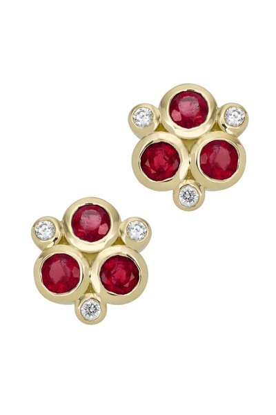 Temple St. Clair - 18K Yellow Gold Ruby & Diamond Trio Studs