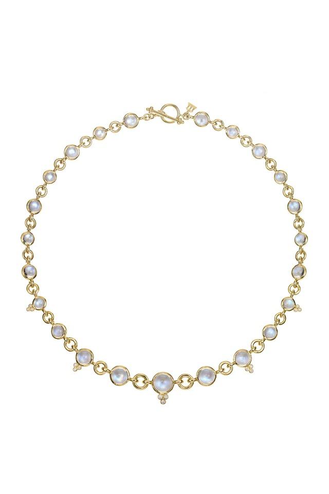 18K Gold Moonstone & Diamond Jean d'Arc Necklace