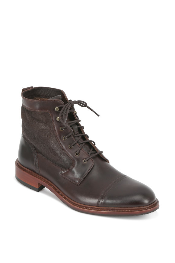 Trask Lowell Dark Brown Leather Shearling Lined Boot