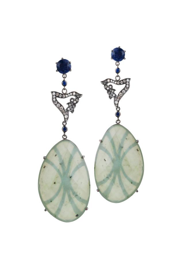 White Gold Nephrite Blue Sapphire Diamond Earrings