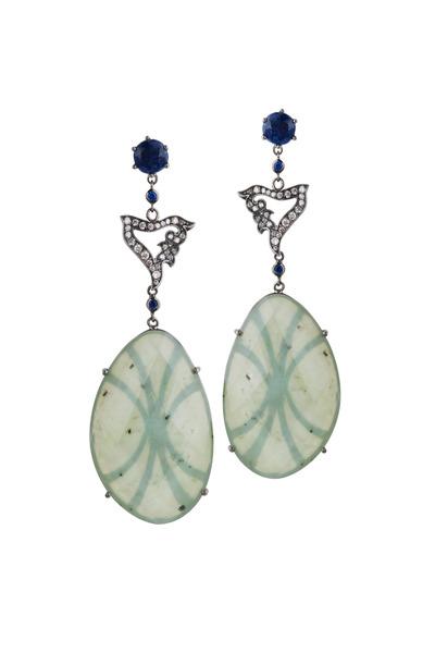 Bochic - White Gold Nephrite Blue Sapphire Diamond Earrings