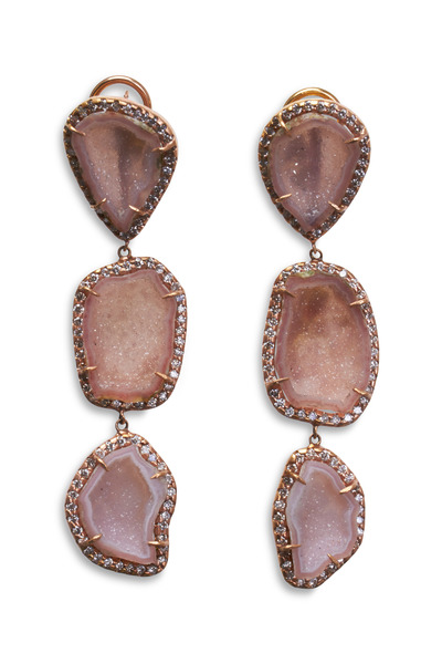 Kimberly McDonald - Rose Gold Pink Geode Diamond Drop Earrings