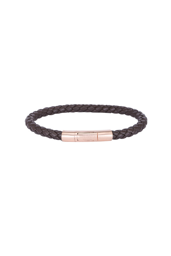 Tateossian Brown Leather & Rose Gold Plated Bracelet-Large
