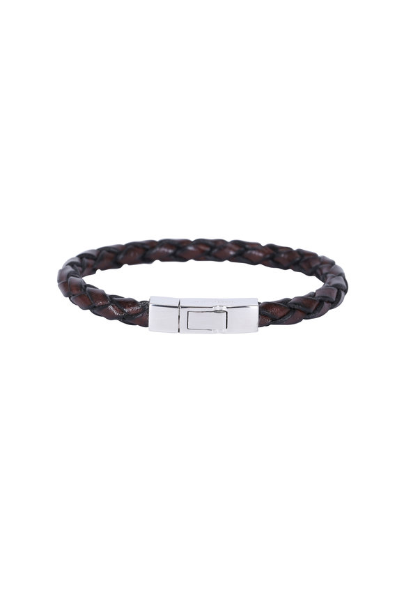 Tateossian Brown Leather & Silver Clasp Bracelet-Medium