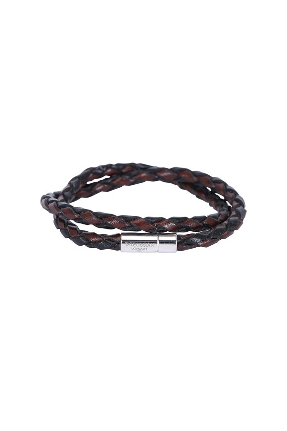 Tateossian Pop Rigato Brown Leather Double Wrap Bracelet