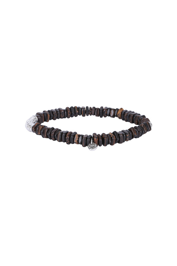 Tateossian Disc Ebony Wood Beaded Bracelet