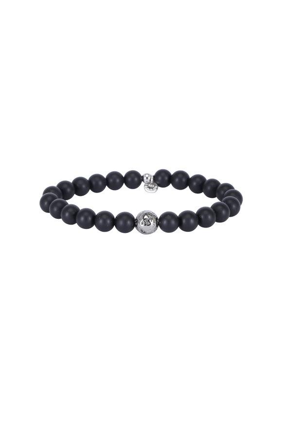 Tateossian Black Agate & Ruthenium Silver Bracelet-Medium