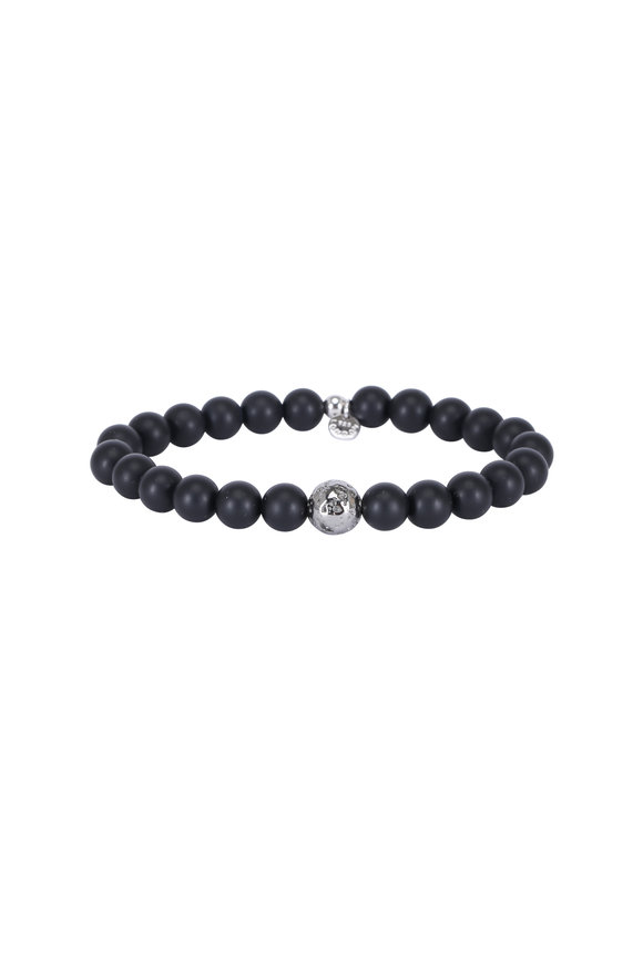 Tateossian Black Agate & Ruthenium Silver Bracelet-Medium