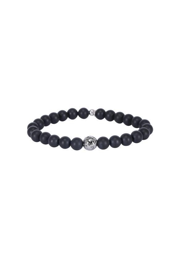 Tateossian Black Agate & Ruthenium Silver Bracelet-Large