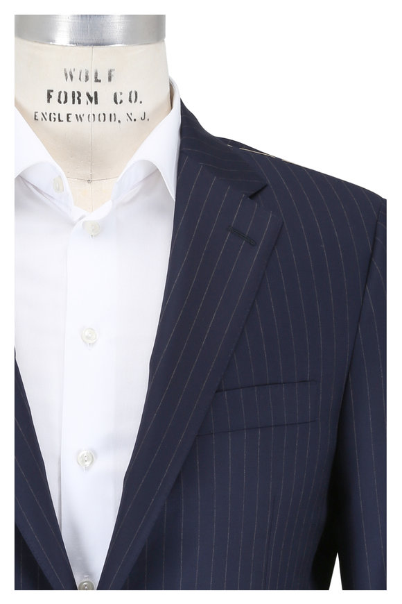 Hickey Freeman Navy Blue Striped Wool Suit